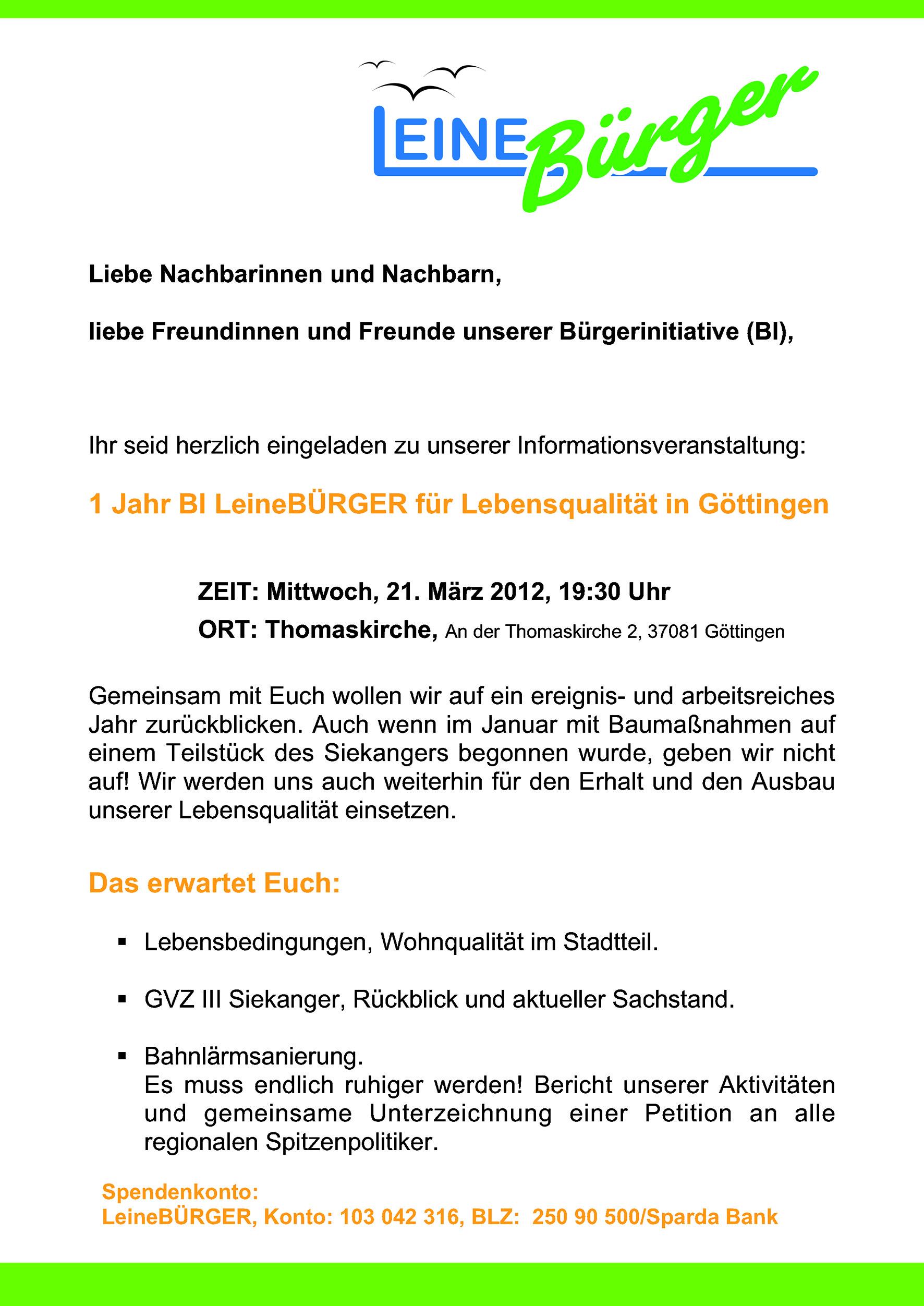 Einladung Zum Einjahrigen Jubilaum Leineburger