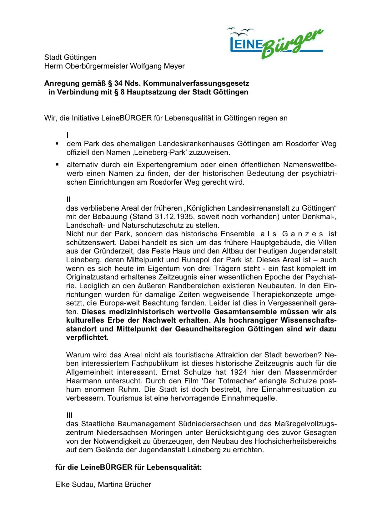 Anregung gemäß § 34 Nds. KommVG