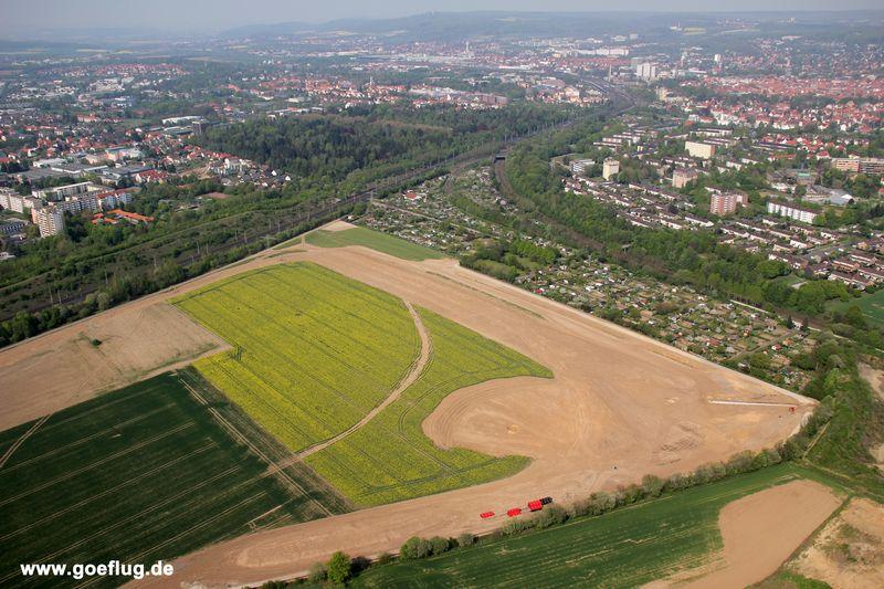 GVZ III Siekanger Göttingen, Luftbild, Zerstörung des Lebensraums der Feldlerche
