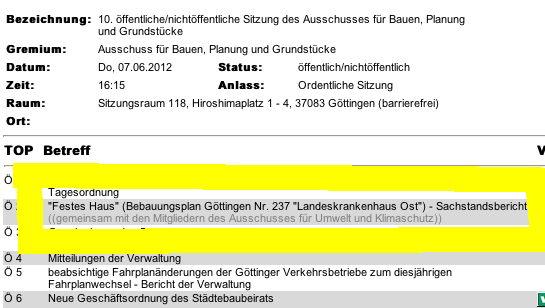 Tagesordnung Sachstand Neubau Festes Haus