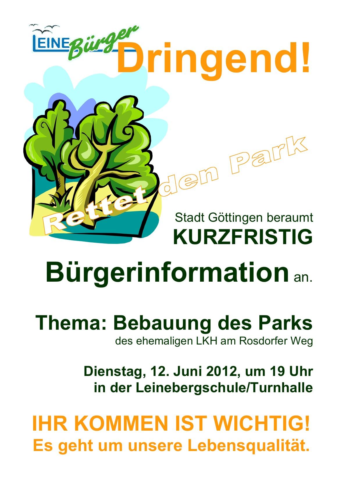 LeineBÜRGER informieren über kurzfristigen Bürgerinfotermin der Stadt
