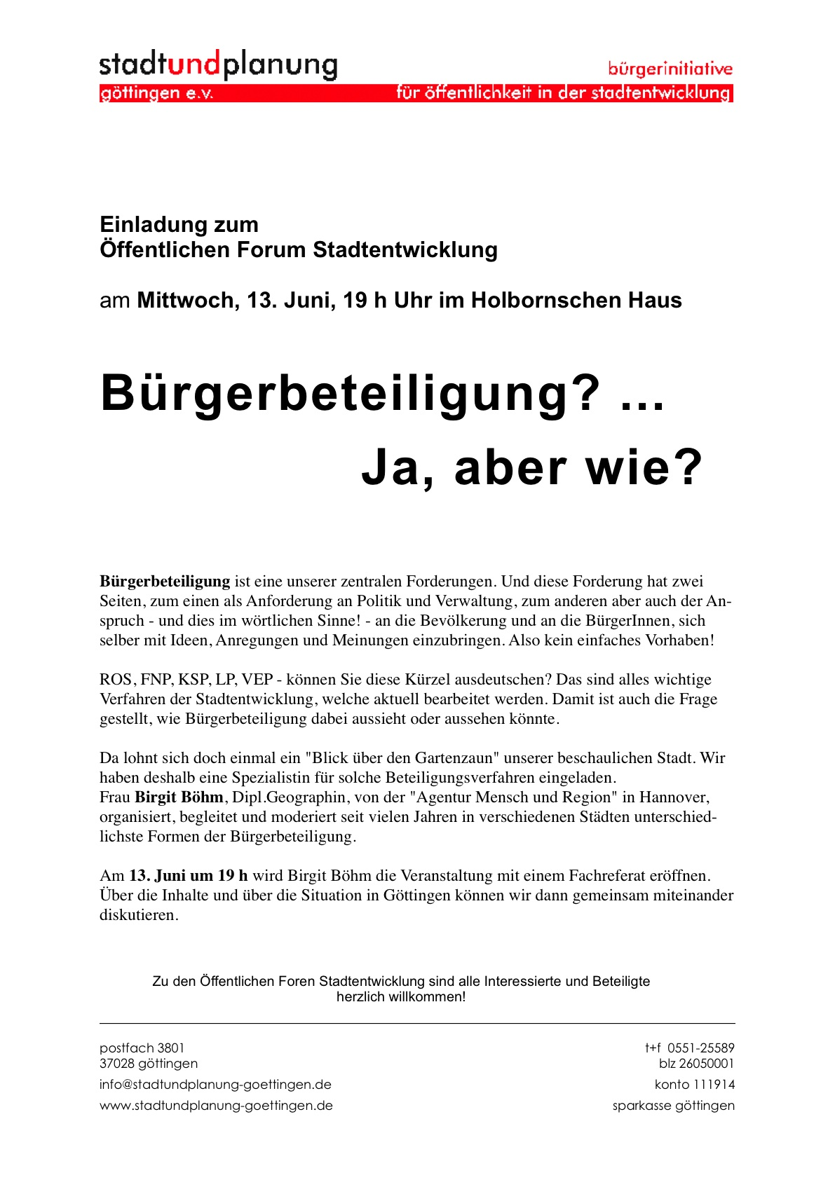 Stadt und Planung Gttingen e.V., Einladung zur Veranstaltung BRGERBETEILIGUNG