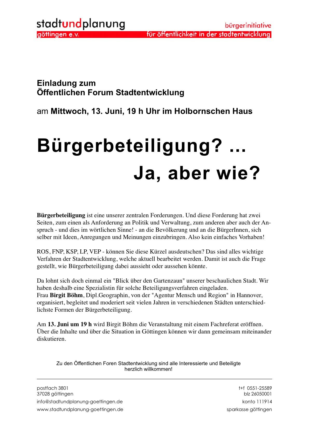 Stadt und Planung Göttingen e.V., Einladung zur Veranstaltung BÜRGERBETEILIGUNG