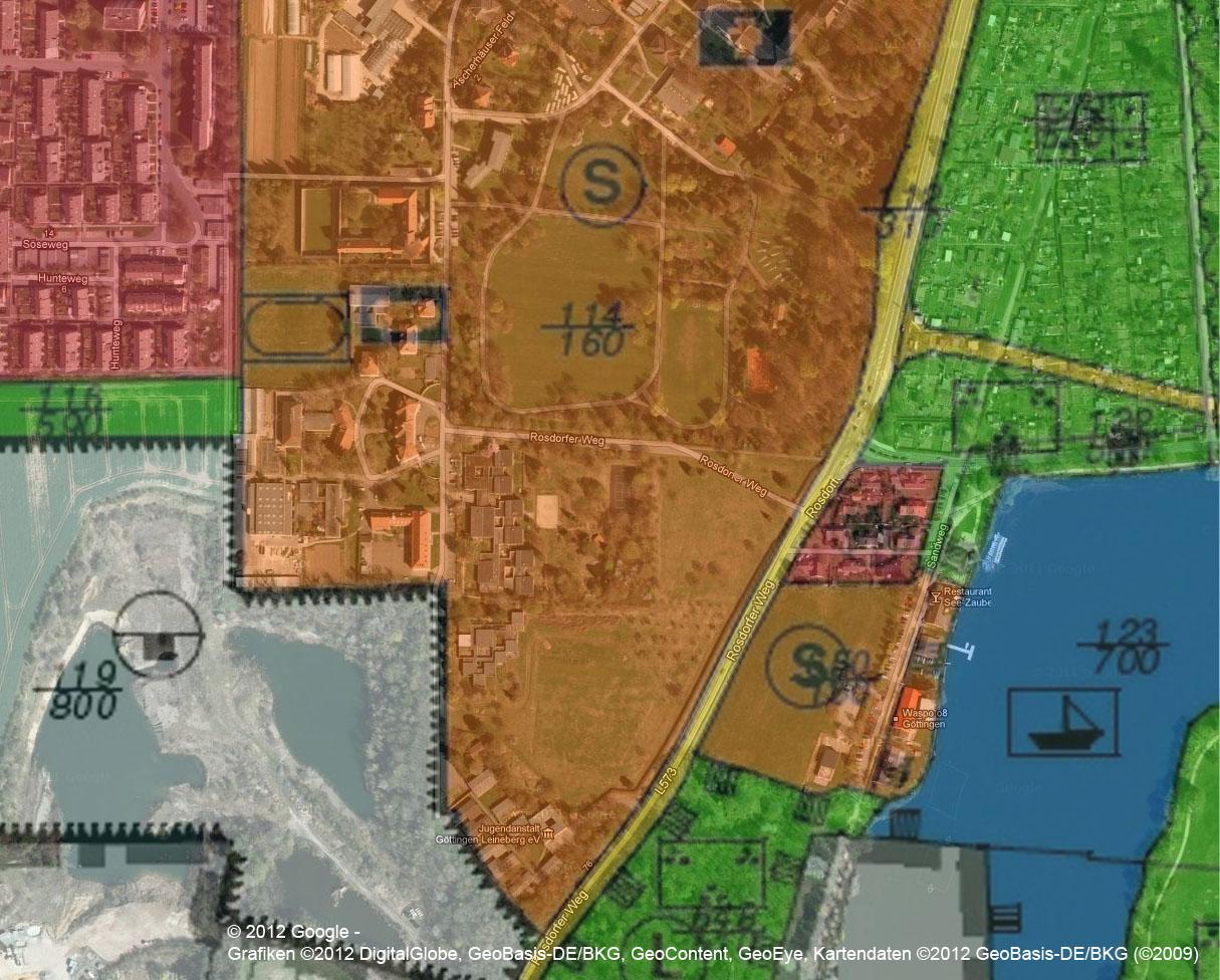 Flächennutzungsplan Göttingen auf Luftbild übertragen